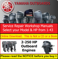 Yamaha Marine Outboard Repair Service Workshop Manuals from 2HP-250HP Engines
