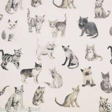 PRESTIGIOUS TEXTILES 100% COTTON CURTAIN FABRIC/CRAFT COOL CATS Charcoal p/m
