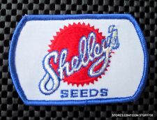"SHELLEYS SEEDS EMBROIDERED SEW ON PATCH FARM ADVERTISING UNIFORM 4"" x 2 1/2"""