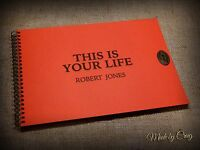 THIS IS YOUR LIFE Personalised Book, Scrapbook/Photo Album, Red Cover, Gift Idea