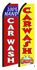 100% Hand Car Wash King Size  Swooper Flag  sign pk of 2