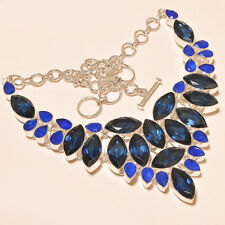 STUNNING IOLITE WITH BLUE CHALCEDONY GEMSTONE .925 SILVER NECKLACE 18""