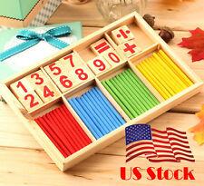 NEW Math Manipulatives Wooden Counting Sticks Kids Preschool Educational Toys US