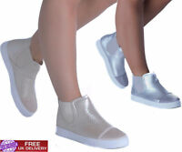 New Womens High Top Sneakers Ankle Ladies Boots Trainers Comfy Flat Girls Shoes