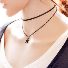 Gothic Black Velvet Choker Star Charm Pendant Choker Necklace Retro 80 90's