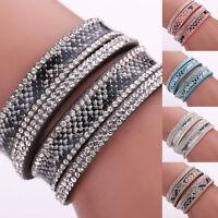 Fashion Leather Wrap Wristband Cuff Punk Crystal Rhinestone Bracelet Bangle New