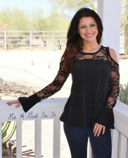 fe16e00b229504 BE VOCAL BLACK LACE BELL SLEEVE COLD SHOULDER A LINE SHIRT S M L XL MADE IN  USA