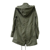 Lady Hooded Drawstring Military Jacket Parka Coat Army Green Summer Sale Quality