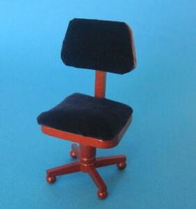 Bürostuhl braun Arbeitszimmer Puppenhaus Möbel Miniaturen 1:12
