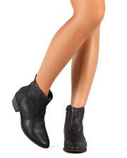 Qupid Sochi-01 New Women Leatherette Western Pointy Toe Low Heel Ankle Bootie
