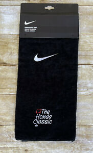 "Nike Golf Embroidered Tri-Fold Towel 16"" x 24"" Black with Swoosh Honda Classic"