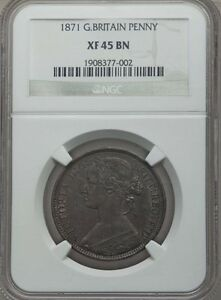 GREAT BRITAIN VICTORIA  1871  1 PENNY COIN, RARE DATE, CERTIFIED NGC XF45-BN