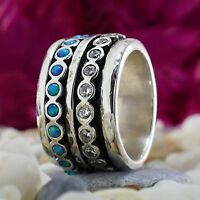 Spinner 925 Sterling Silver 2.2 Carat Opal & Cubic Zirconia Stones Ring Size