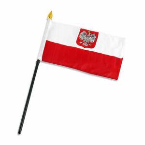 "4""x6"" Poland Eagle Crest Stick Flag Table Staff Desk Table"