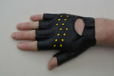 Millington Fingerless Faux Leather Cycling / Work Gloves Black Size L (Medium).
