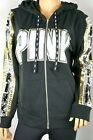 VICTORIA'S SECRET PINK Full Zip BLING GOLD SILVER SEQUIN PERFECT HOODIE S