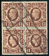 Weeda Great Britain #275 Used 1948 issue block of 4 King George VI CV $80.00
