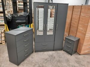 3 Door Wardrobe Bedroom Set - Grey