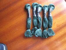 mercerie ancienne 5 échevettes 40m coton à broder  special  n° 25 DMC  vert 319