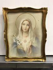 Quadro Stampa Madonna Sacro Cuore del Giglio vintage anni 50 Arte Sacra