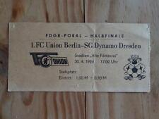 T340 TICKET 1.FC UNION BERLIN - DYNAMO DRESDEN 30.4.86 DDR Oberliga DFV Fußball