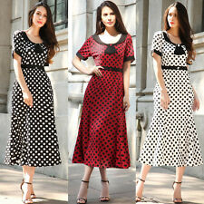 New Retro Vintage Polka Dot Style Womens Pencil Midi Business Work Dress AU 8-18