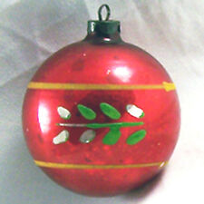 Vintage Xmas Tree Ornament Glass Red Ball Painted Leaves Striped Made In USA