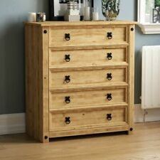 Corona 5 Drawer Chest Distressed Rustic Waxed Pine Bedroom Storage Furniture