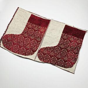 Burgundy Damask Unfinished Tapestry Christmas Stocking Fabric Piece Makes 2