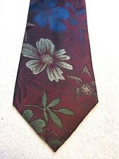 Vintage Etienne Aigner Mens Tie 3.75 X 60 Burgundy With Blue, Green, Beige