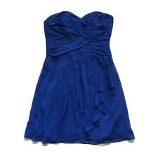 Davids Bridal Short Crinkle Chiffon Dress Front Cascade F14847 Horizon Blue 10