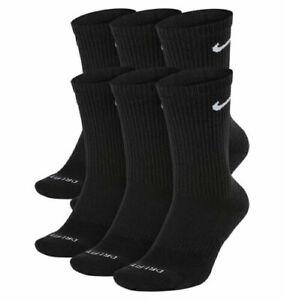 NIKE 6 Pairs Everyday Plus Cotton Cushioned Crew Socks Size L Men 8-12 Black