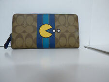 Coach PacMan Accordion Zip Around Wallet F56718 LTD Khaki/Denim Blue NWT $275