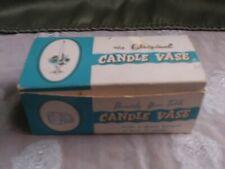 Vintage plastic Candle Vase set of 2 in original box holds flowers.