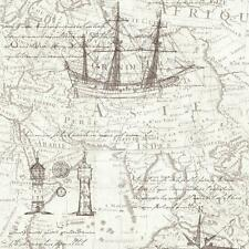 VINTAGE ATLAS MAP PATTERN OLD NAUTICAL NON WOVEN TEXTURED WALLPAPER NEUTRAL