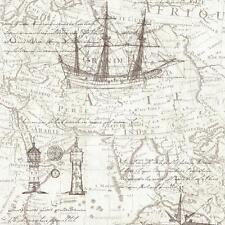vintage mapa atlas estampado Old Naútico Papel pintado textura no tejida neutro