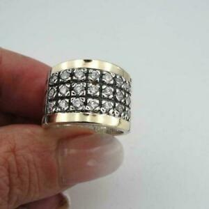 Creative Two Tone 925 Silver Rings Women White Sapphire Wedding Rings Size 6-10