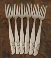 IS Exquisite Set 6 Dinner Forks Rogers Bros Vintage Silverplate Flatware Lot B