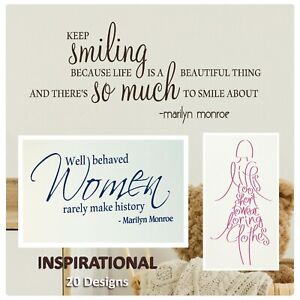 Inspirational Quote Wall stickers - Motivating art decals Diy Vinyl transfers UK