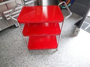 Vintage RED Metal Kitchen Cart Retro Mid Century Chrome Legs NEW PAINT