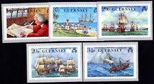 Guernsey Postkartenserie Weltumsegelung von Lord Ansons Flotte