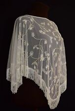 20S STYLE MESH TOP SHEER CAPE EMBROIDERED NET FRINGED EVENING WEDDING IVORY