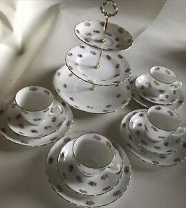 Stunning Vintage Tuscan Fine Bone China Tea Set 15 Pc Pink Rose Bud
