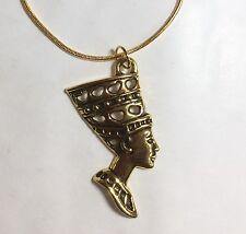 NEFERTITI PENDANT ON GOLD TONE NECKLACE 44cm