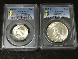 Philippines 1947s 50c & 1P Commemorative Silver Coin PCGS MS66 (UNC Certified)