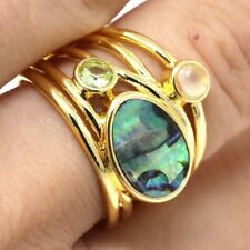 Vintage Natural Abalone Shell Ring 14k Yellow Gold Plated Women Jewelry Gift