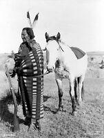 """1900 antique Photo, Native American, Sioux Indian w/ Rifle, gun, HORSE, 14""""x11"""""""