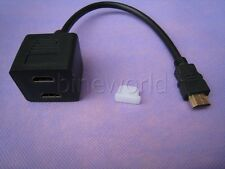 HDMI Male to 2 HDMI Female 1 in 2 Out Y Splitter Dual Twin Adapter Cable Lead