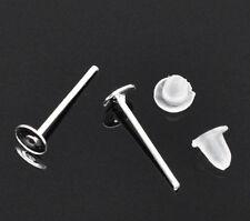 1000 Stk Ohrstecker Ohrringe Schmuck neu versilbert 4x12mm Schmuck Basteln DIY