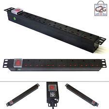 """19"""" 7 Way Power Distribution Unit Strip Horizontal UK PDU Data Lan Cabinet Mount"""